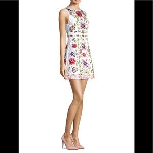 Alice & Olivia Embroidered Crystal Floral Dress